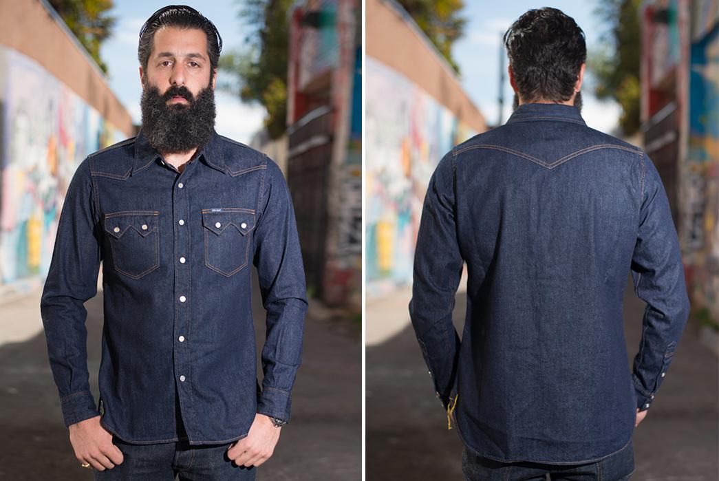 Iron-Heart-7oz.-Selvedge-Denim-Sawtooth-Shirt-model-front-back