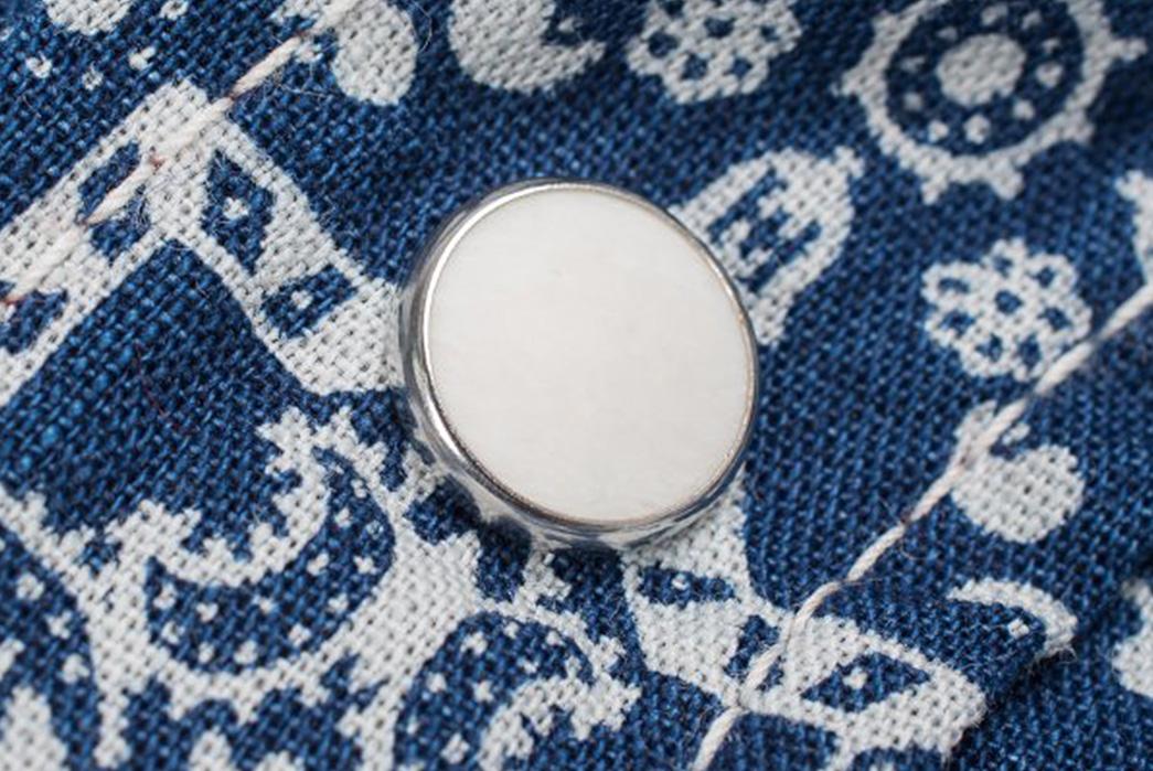 Iron-Heart-IHSH-17-IND-Indigo-Guardian-Bell-Print-5.5oz-Selvedge-Chambray-Western-Shirt-button