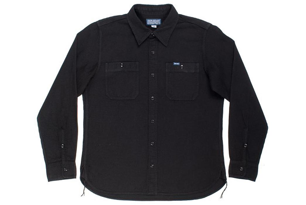 Iron-Heart-IHSH-172-BLK-Black-Waffle-Work-Shirt-front