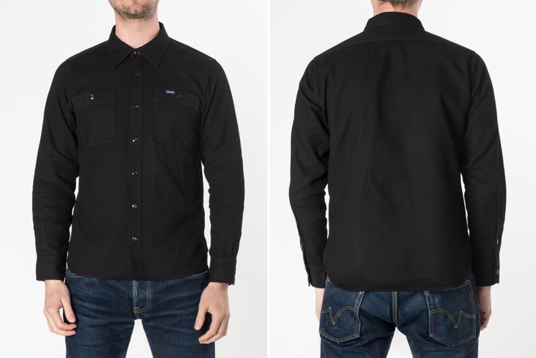 Iron-Heart-IHSH-172-BLK-Black-Waffle-Work-Shirt-model-front-back