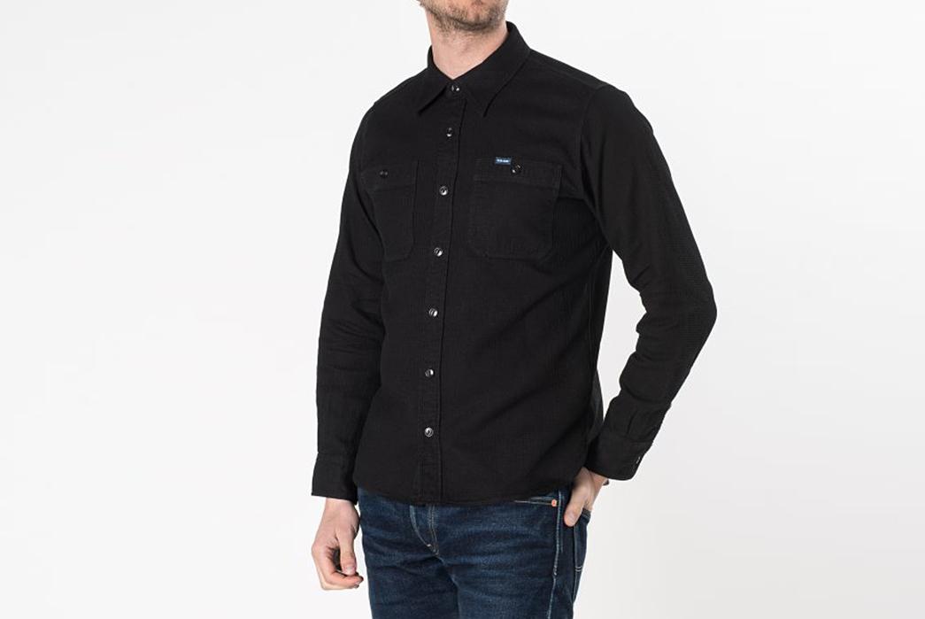 Iron-Heart-IHSH-172-BLK-Black-Waffle-Work-Shirt-model-front