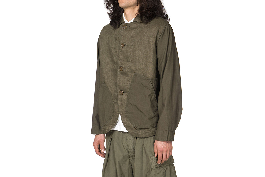 Kapital-Linen-Chino-Cloth-and-Gabardine-Ringoman-Coverall-Jacket-model-front-side