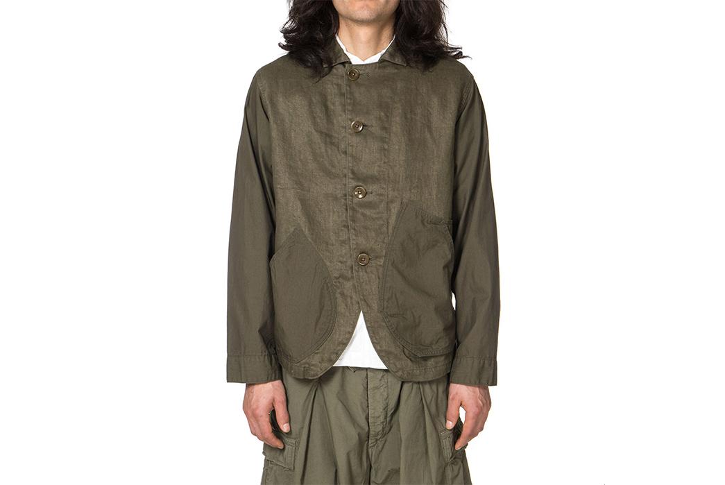 Kapital-Linen-Chino-Cloth-and-Gabardine-Ringoman-Coverall-Jacket-model-front