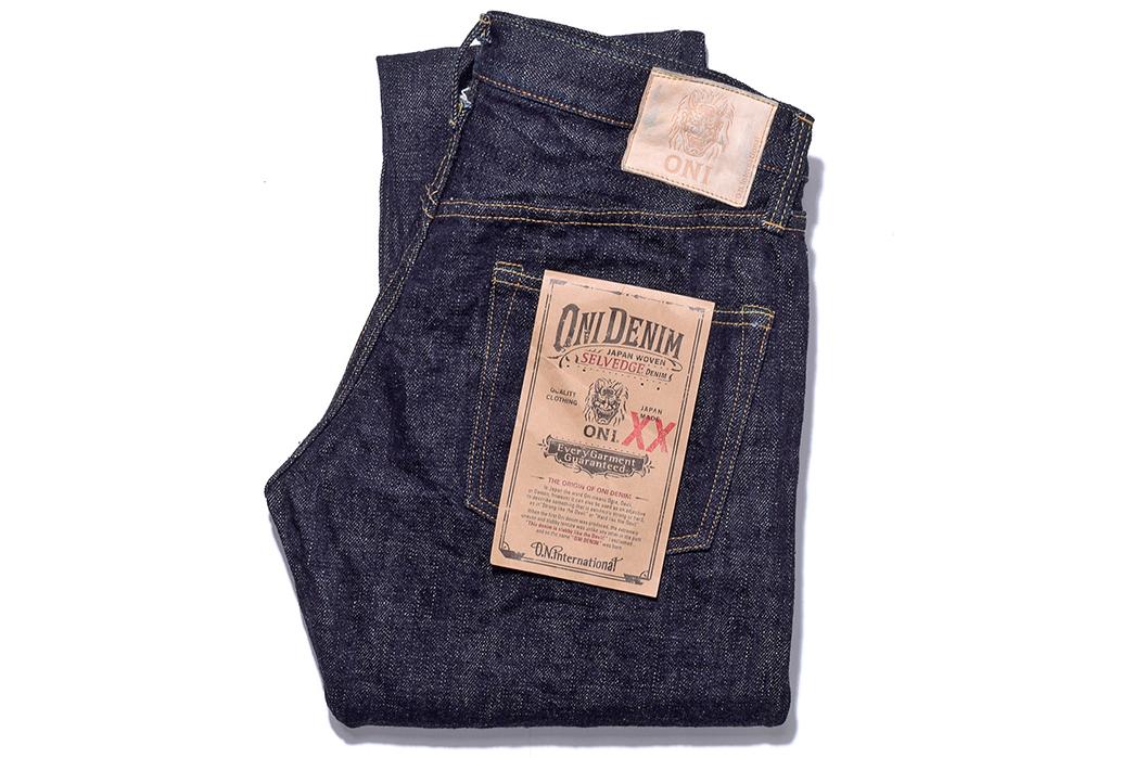 Oni-x-Blue-in-Green-ONI-612XXBIG-16.5oz-Relaxed-Slim-Taper-Ltd-Ed.-Jeans-folded