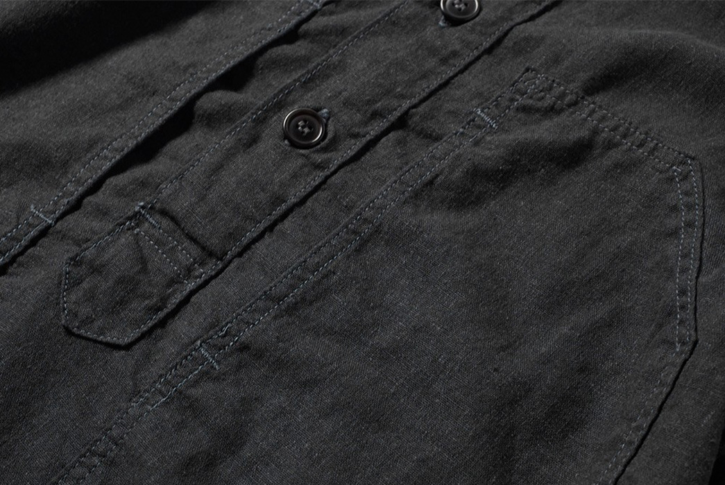 Post-Overalls-Lightens-Up-With-Their-Linen-Blend-Army-Shirt-front-detailed-buttons