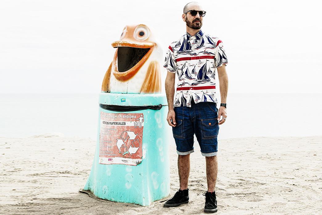 Self-Edge-'La-Playita'-Summer-2017-Lookbook-male-and-frog-statue-recycle-bin