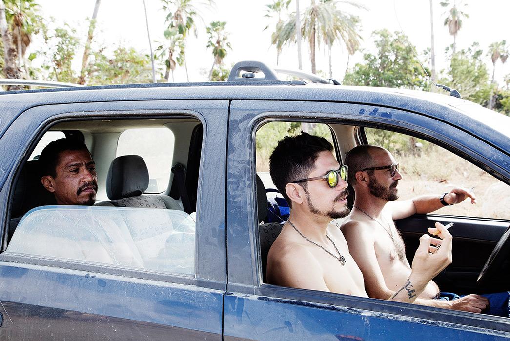 Self-Edge-'La-Playita'-Summer-2017-Lookbook-three-males-in-blue-car