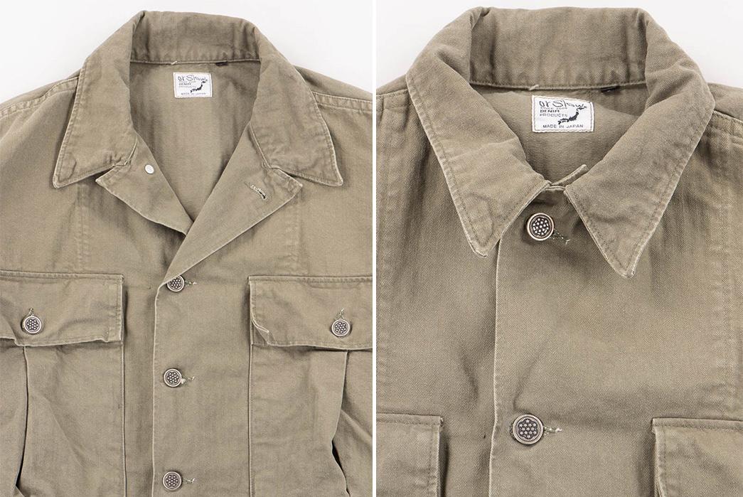 Slow-Green-Used-Herringbone-US-Army-Jacket-front-detalied