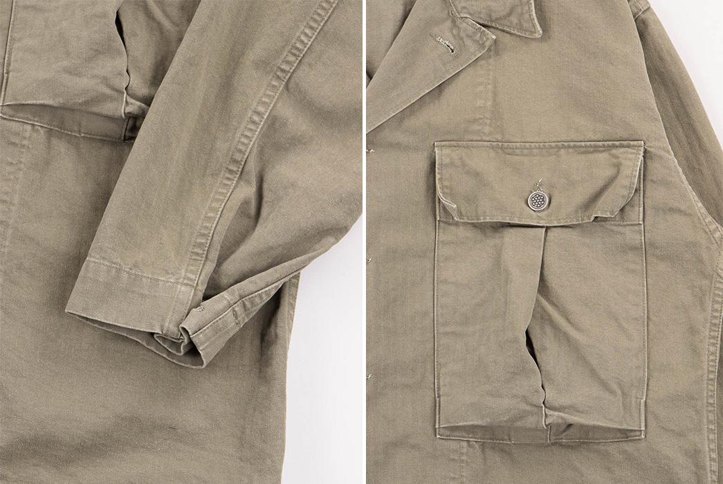Slow-Green-Used-Herringbone-US-Army-Jacket-sleeve-and-pocket