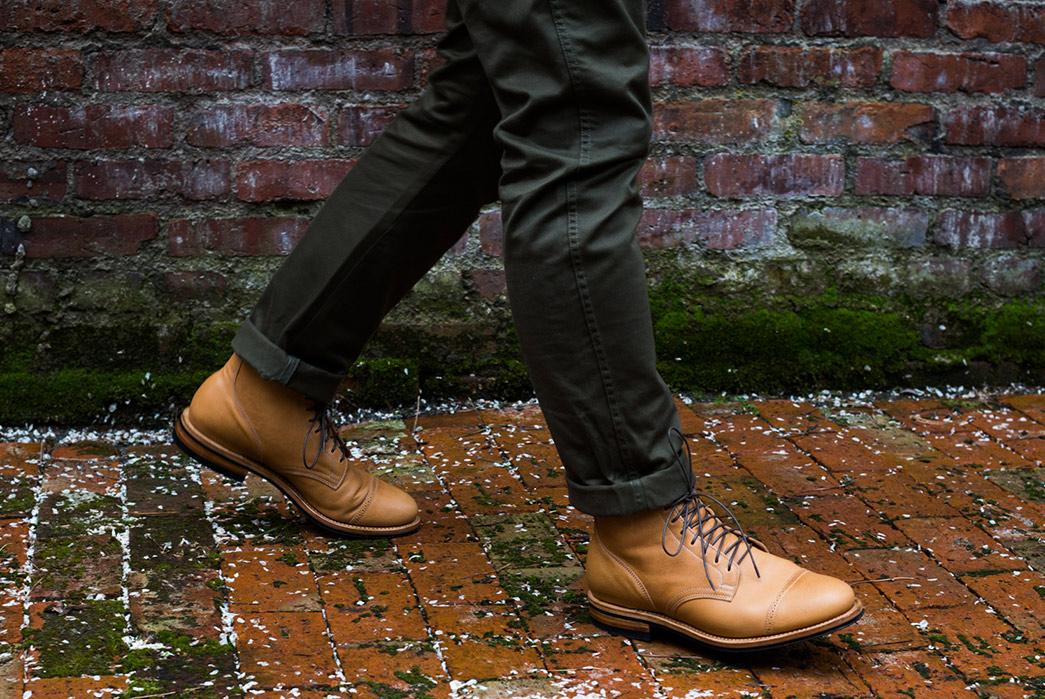 Viberg's-Latest-Service-Boot-Serves-Up-Lightly-Toasted-Reindeer-model-side-walk