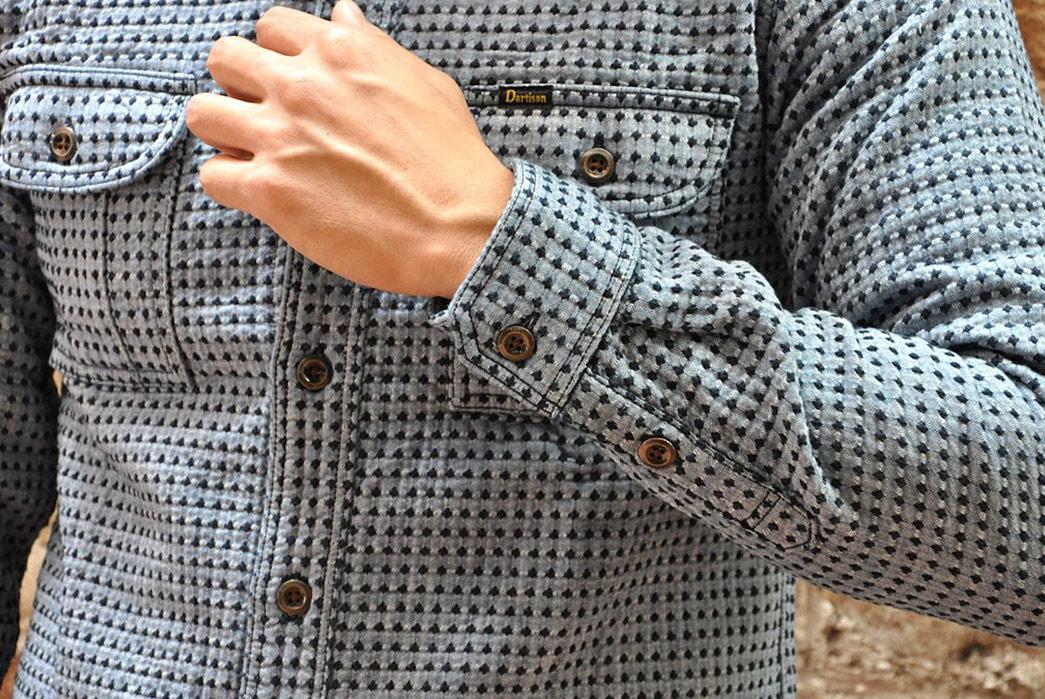 Studio-D'Artisan-Sashiko-Nel-Shirt-model-front-sleeve detalied