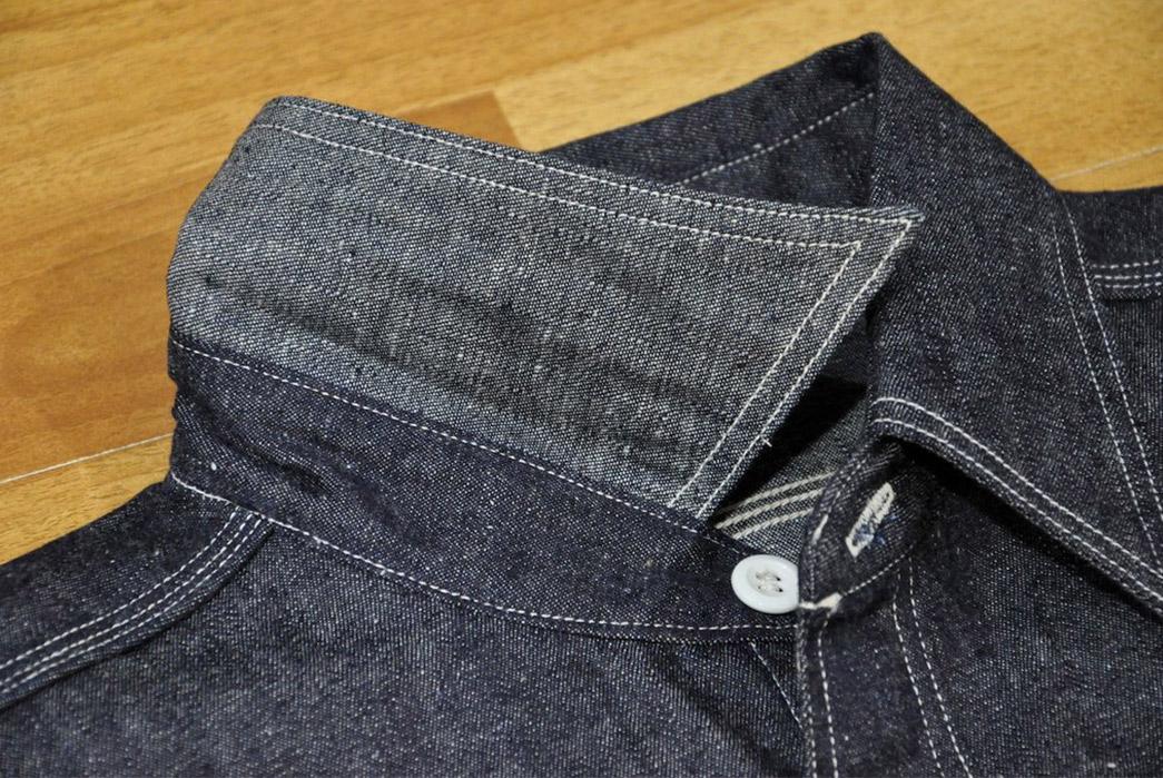 Warehouse-8.5oz-Nep-Denim-Workshirt-front-collar-up