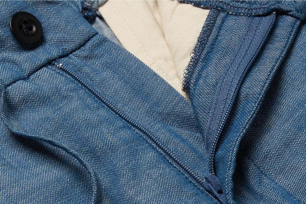Chambray-Pants---Five-Plus-One-2)-Freemans-Sporting-Club-Drawstring-Trousers-zipper