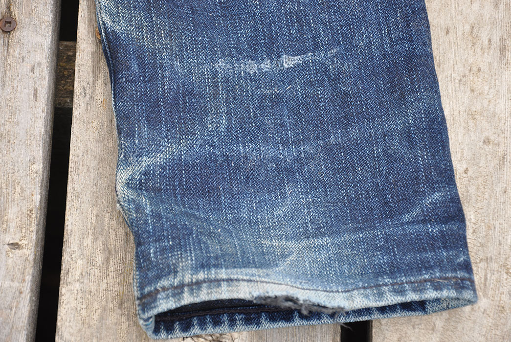 Fade-Friday---Japan-Blue-x-Blue-Owl-JBO-420-(1.5-Years,-8-Washes,-1-Soak)-leg-selvedge
