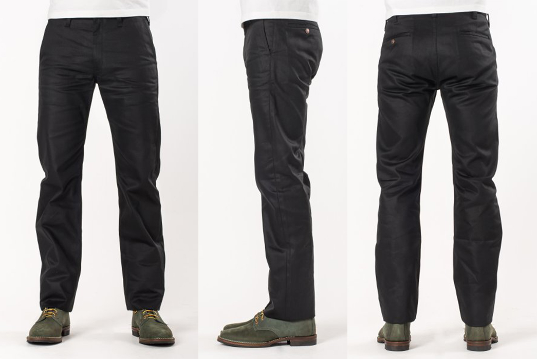 Iron-Heart-IH-717-BLK-Black-9oz.-Selvedge-Mercerized-Cotton-Chinos-front-side-back
