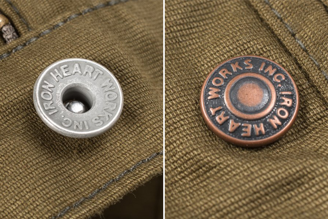 Iron-Heart-IH-816-OLV-Olive-Cotton-Whipcord-Work-Pants-model-buttons