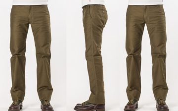 Iron-Heart-IH-816-OLV-Olive-Cotton-Whipcord-Work-Pants-model-front-side-back