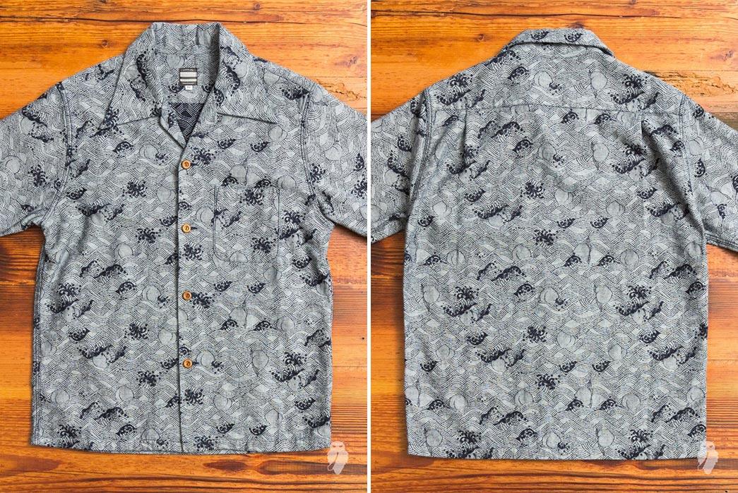 Momotaro-Indigo-Peach-Jacquard-Aloha-Shirt-front-back