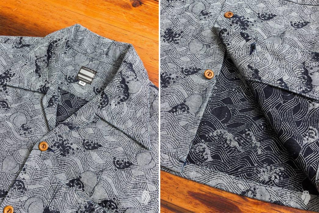 Momotaro-Indigo-Peach-Jacquard-Aloha-Shirt-front-collar-and-front-down