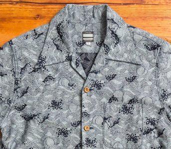 momotaro-indigo-peach-jacquard-aloha-shirt-front-detail