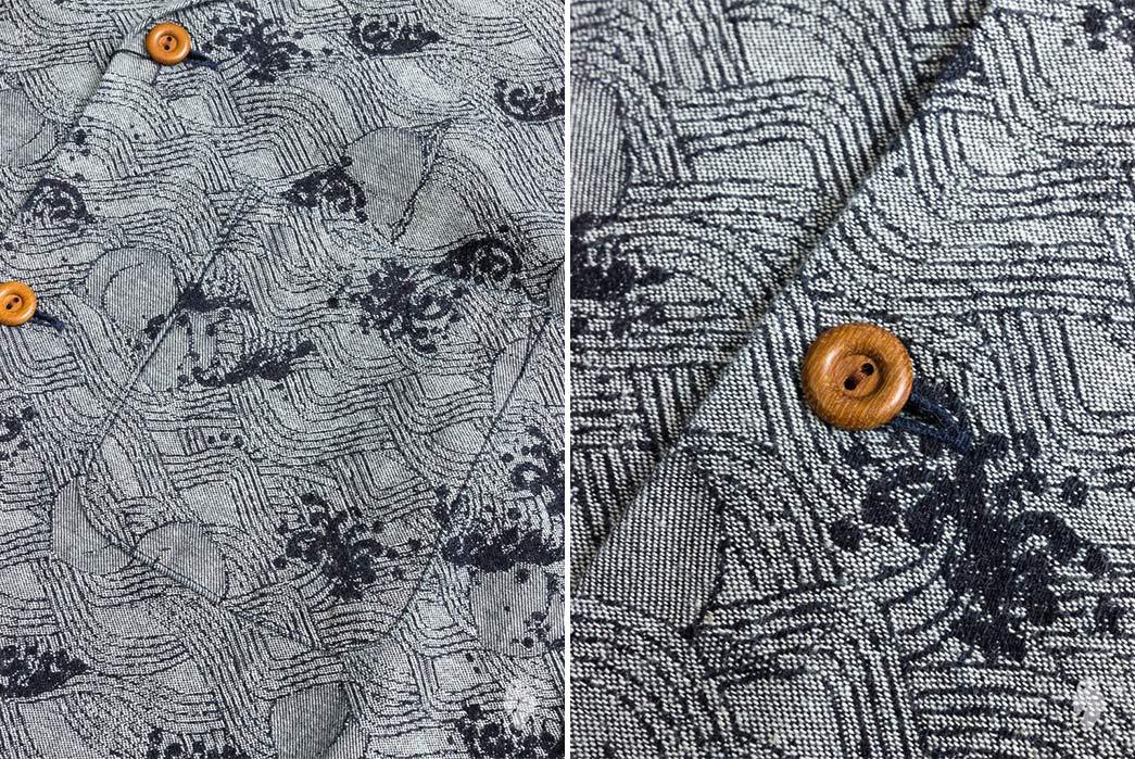 Momotaro-Indigo-Peach-Jacquard-Aloha-Shirt-pocket-and-buttons