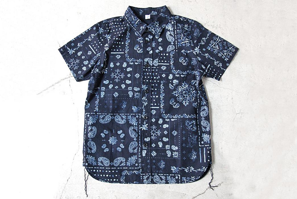 Pure-Blue-Japan-Paisley-Discharge-Print-Deep-Indigo-Short-Sleeve-Shirt-front