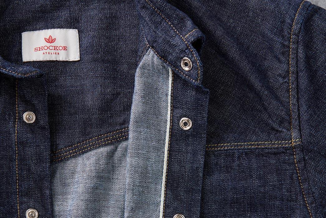 Shockoe-Atelier-Selvedge-Denim-Western-Shirt-front-open-detailed