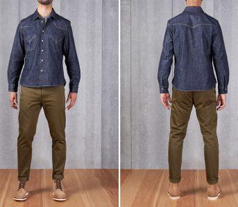 Shockoe-Atelier-Selvedge-Denim-Western-Shirt-model-front-back