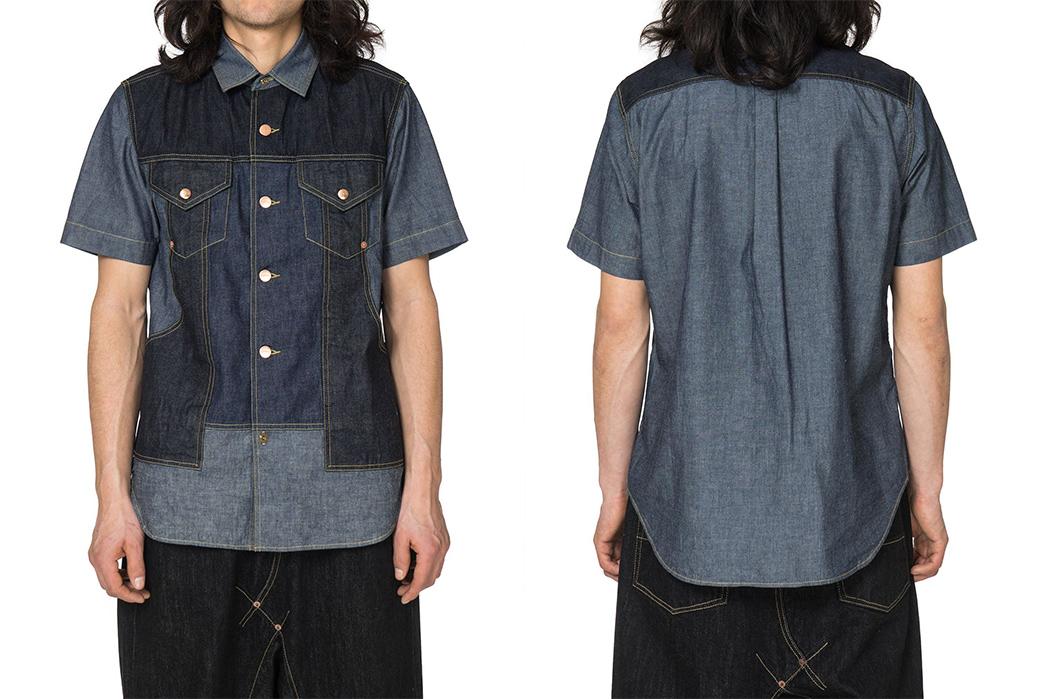 Short-Sleeve-Chambray-Shirts---Five-Plus-One-Plus-One---Ganryu-Mixed-Fabric-Chambray-Denim-Shirt