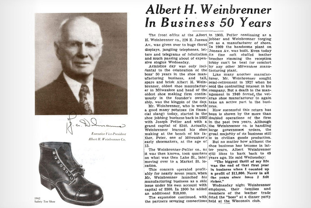 Thorogood-Boot-and-Weinbrenner-Shoe-Co.Albert-Weinbrenner-and-article-celebrating-50-years-in-business.-Image-via-Thorogood