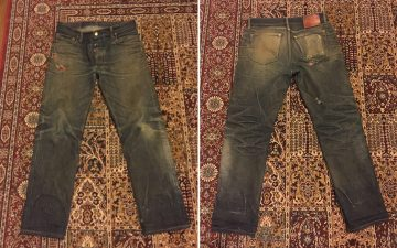 Fade-of-the-Day---Left-Field-Chelsea-18-oz.-Japanese-denim-(2-Years,-4-Washes,-2-Soaks)-front-back