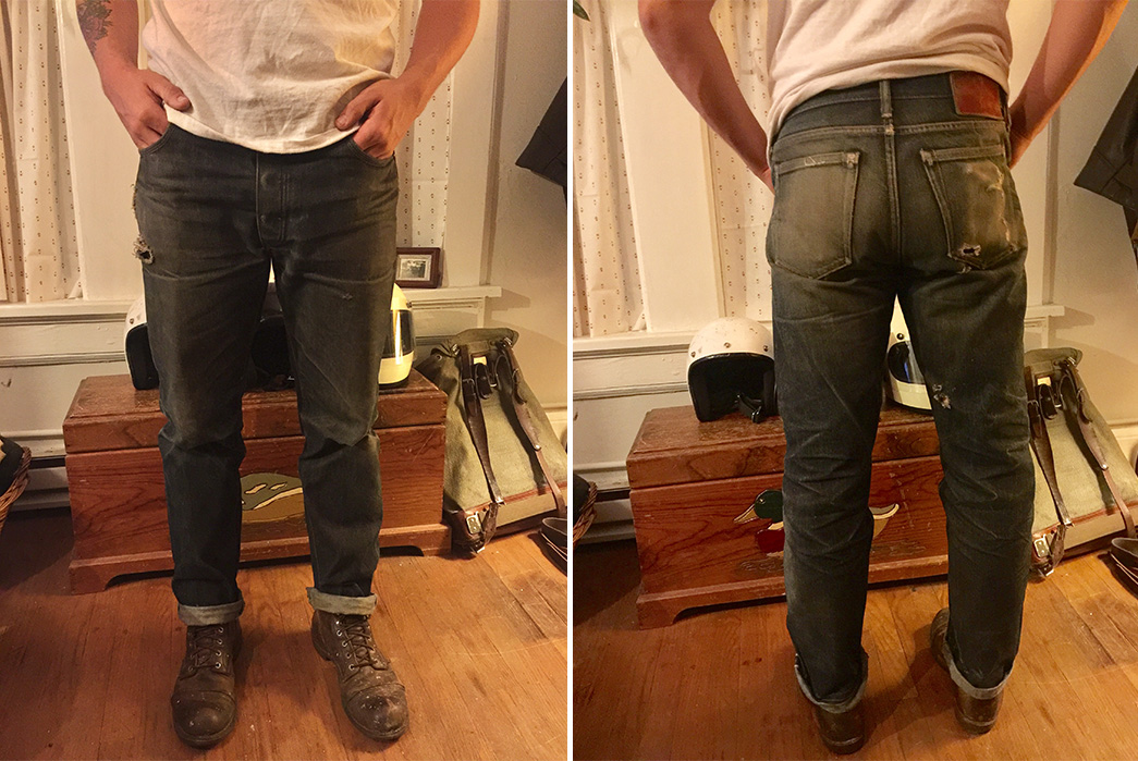 Fade-of-the-Day---Left-Field-Chelsea-18-oz.-Japanese-denim-(2-Years,-4-Washes,-2-Soaks)-model-front-back
