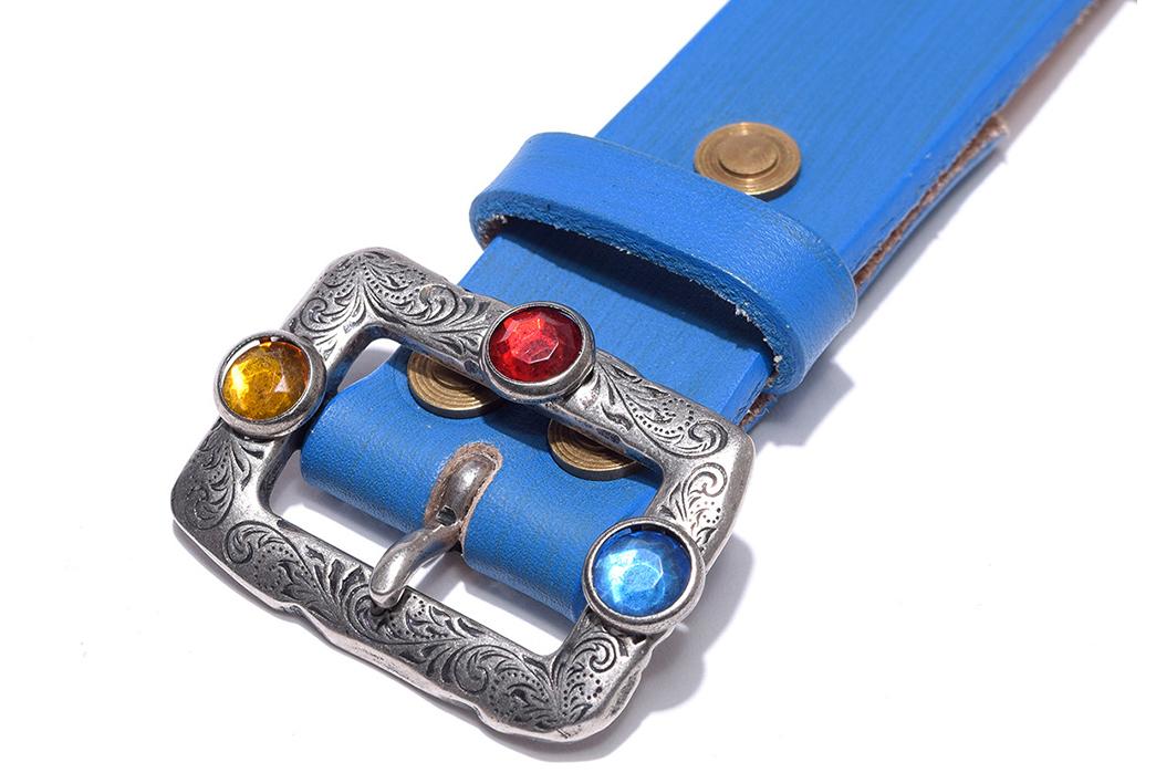 Kapital-Oil-Leather-Studs-Disco-Buckle-Belt-blue