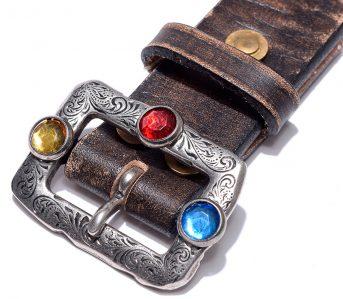 Kapital-Oil-Leather-Studs-Disco-Buckle-Belt-dark-brown