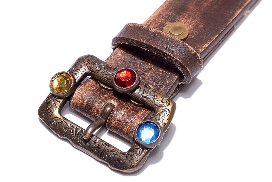 Kapital-Oil-Leather-Studs-Disco-Buckle-Belt-light-brown