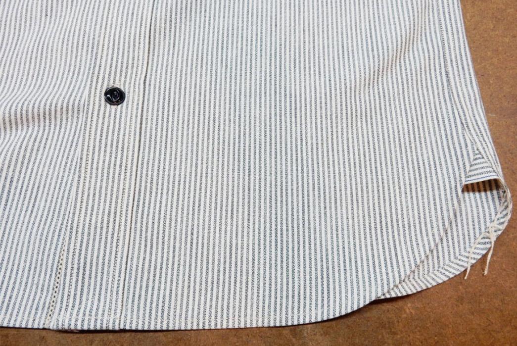 Roy-6oz.-Selvedge-Cotton-Chambray-Stripe-Shirt-front-bottom-selvedge
