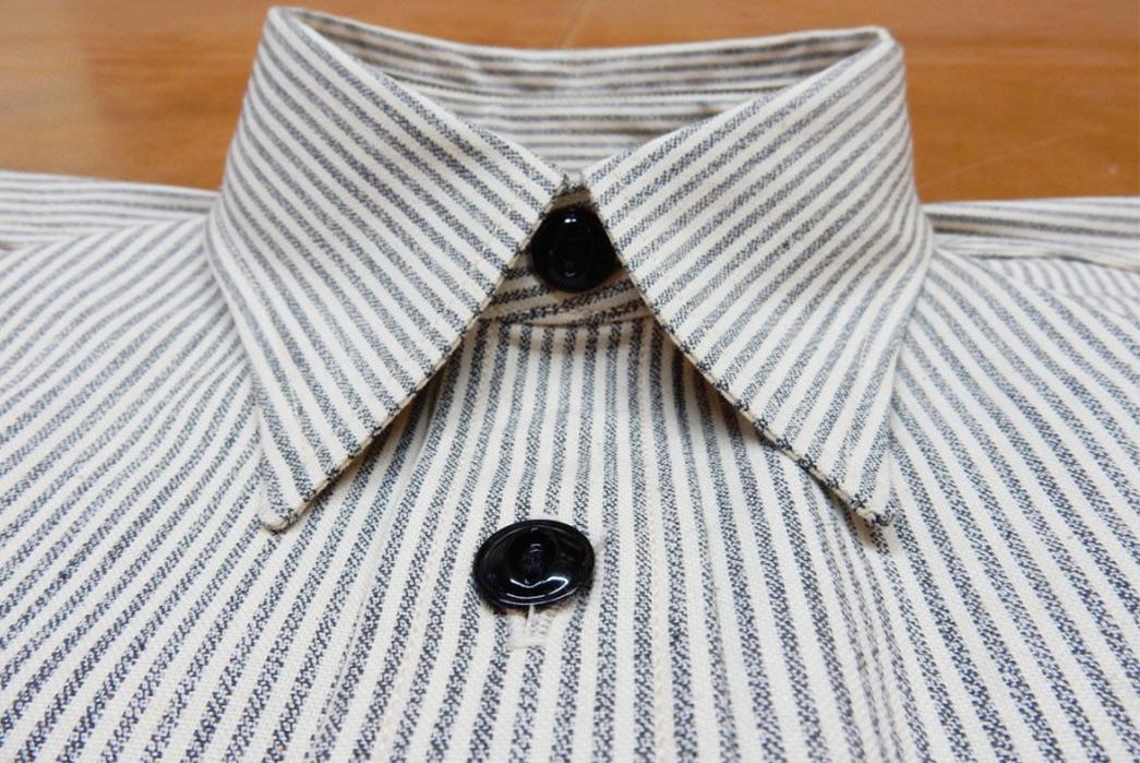 Roy-6oz.-Selvedge-Cotton-Chambray-Stripe-Shirt-front-collar