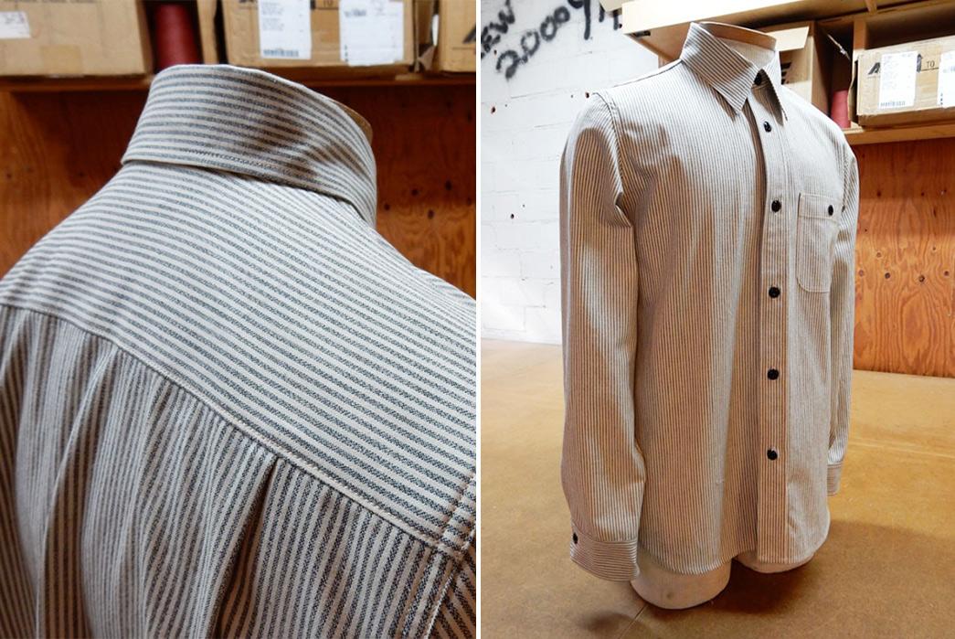 Roy-6oz.-Selvedge-Cotton-Chambray-Stripe-Shirt-on-doll