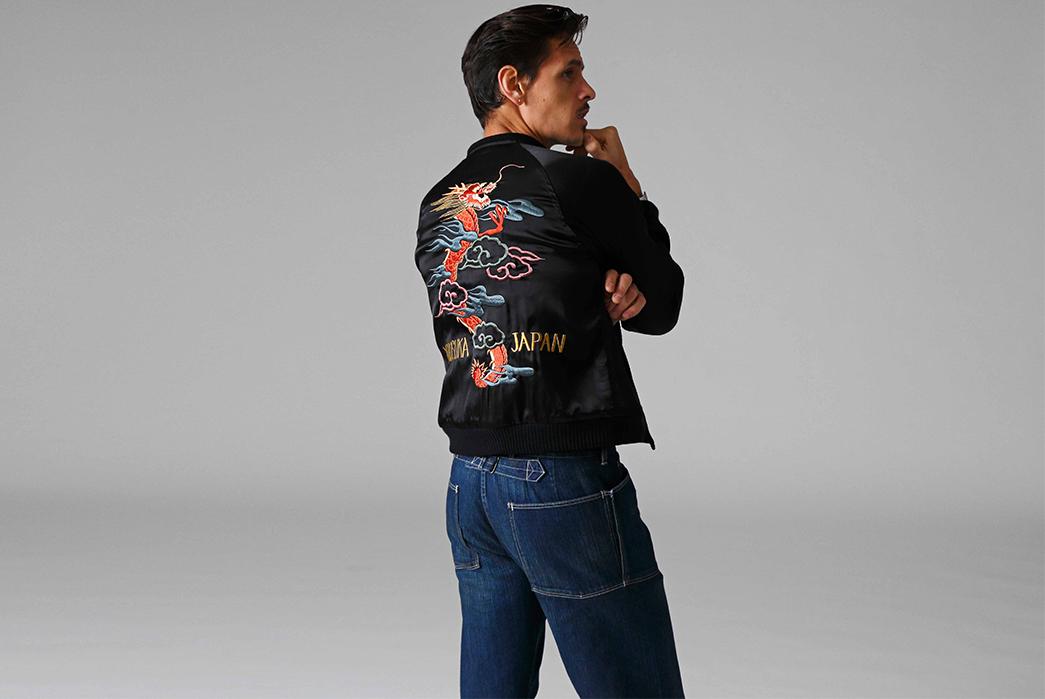 Stevenson-Overall-Co.-Releases-Their-Weekend-Warrior-Lookbook-black-jacket-and-dark-blue-pants-back