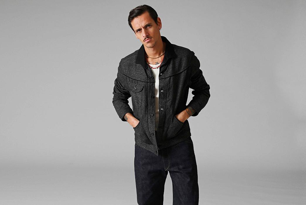 Stevenson-Overall-Co.-Releases-Their-Weekend-Warrior-Lookbook-black-jacket-and-dark-blue-pants