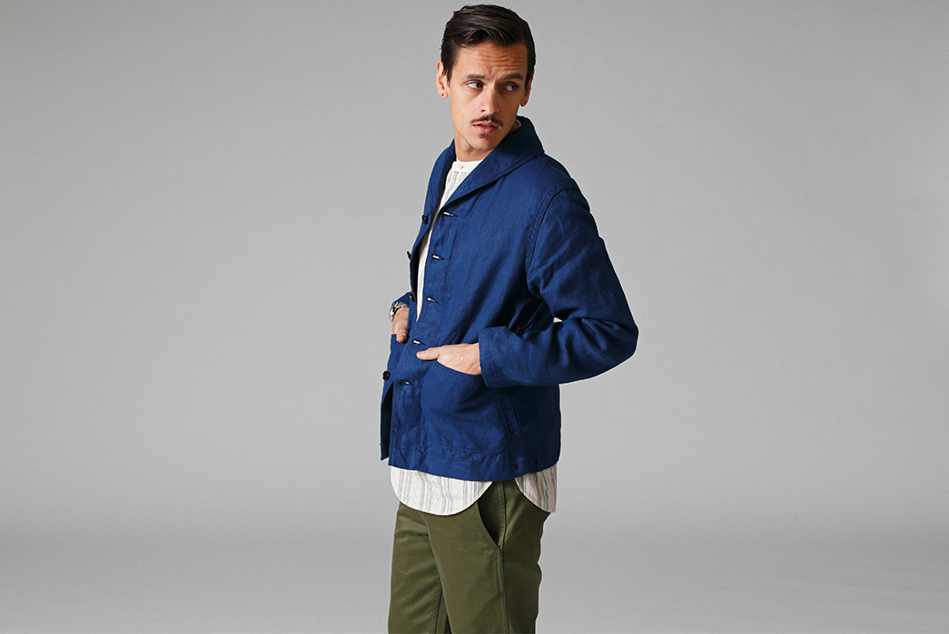Stevenson-Overall-Co.-Releases-Their-Weekend-Warrior-Lookbook-blue-jacket-and-green-pants