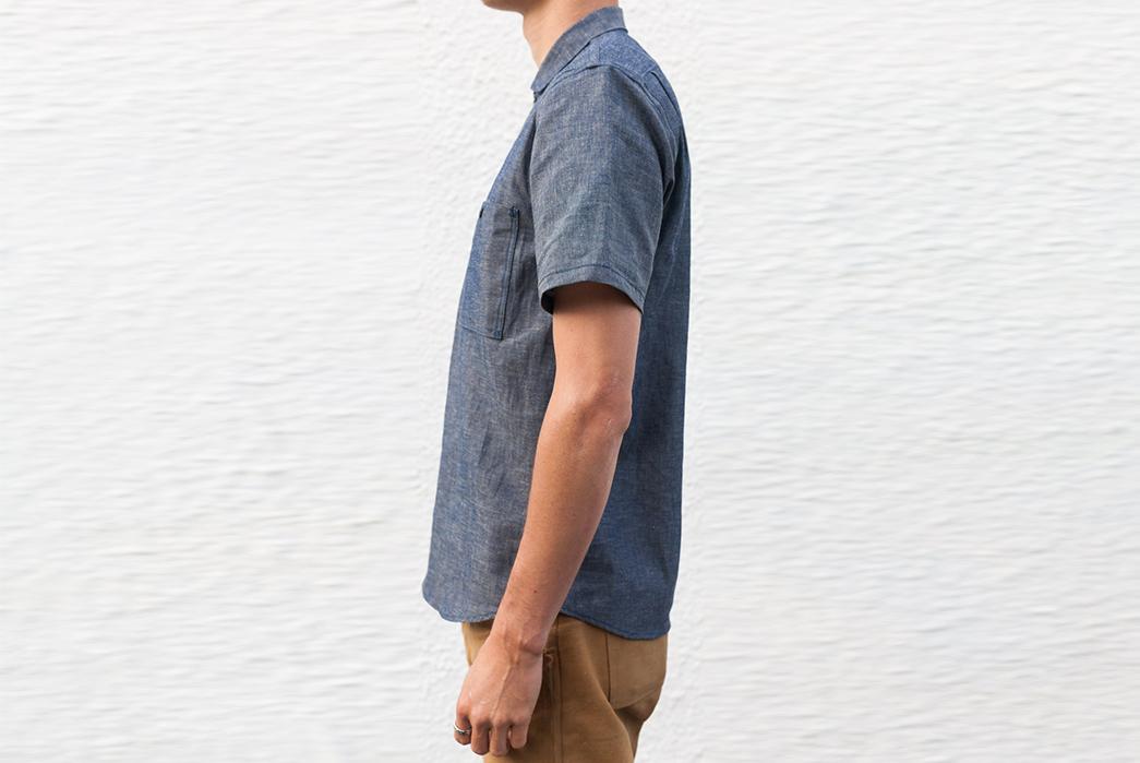 Grease-Point-Workwear-Indigo-Linen-Chambray-Shirt-side