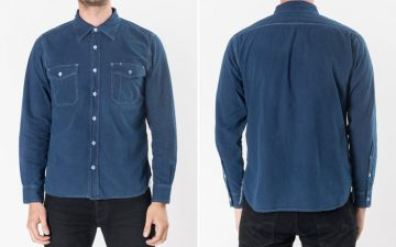 Iron-Heart-IHSH-169-iod-Indigo-Overdyed-US-Navy-Style-5.5oz-Selvedge-Chambray-Shirt-model front-back