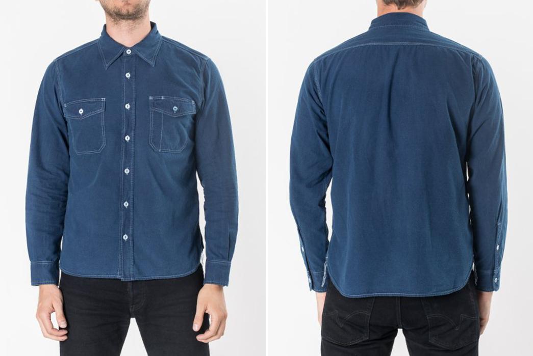 Iron-Heart-IHSH-169-iod-Indigo-Overdyed-US-Navy-Style-5.5oz-Selvedge-Chambray-Shirt-model front-back