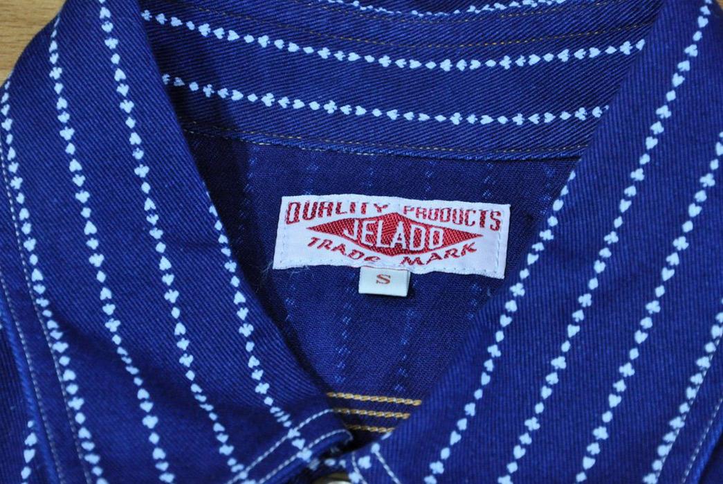 Jelado-10oz-Indigo-Dyed-'Poker'-Wabash-Shirt-collar