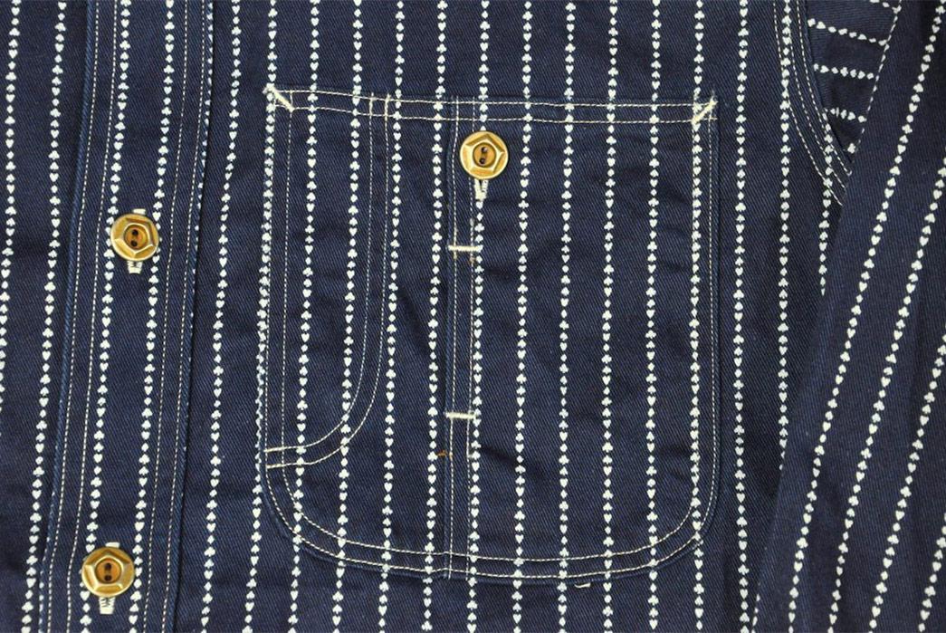 Jelado-10oz-Indigo-Dyed-'Poker'-Wabash-Shirt-front-pocket