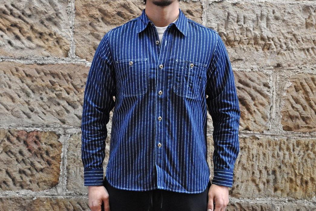 Jelado-10oz-Indigo-Dyed-'Poker'-Wabash-Shirt-model-front