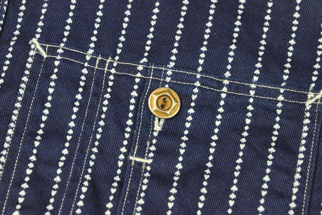 Jelado-10oz-Indigo-Dyed-'Poker'-Wabash-Shirt-pocket-and-button