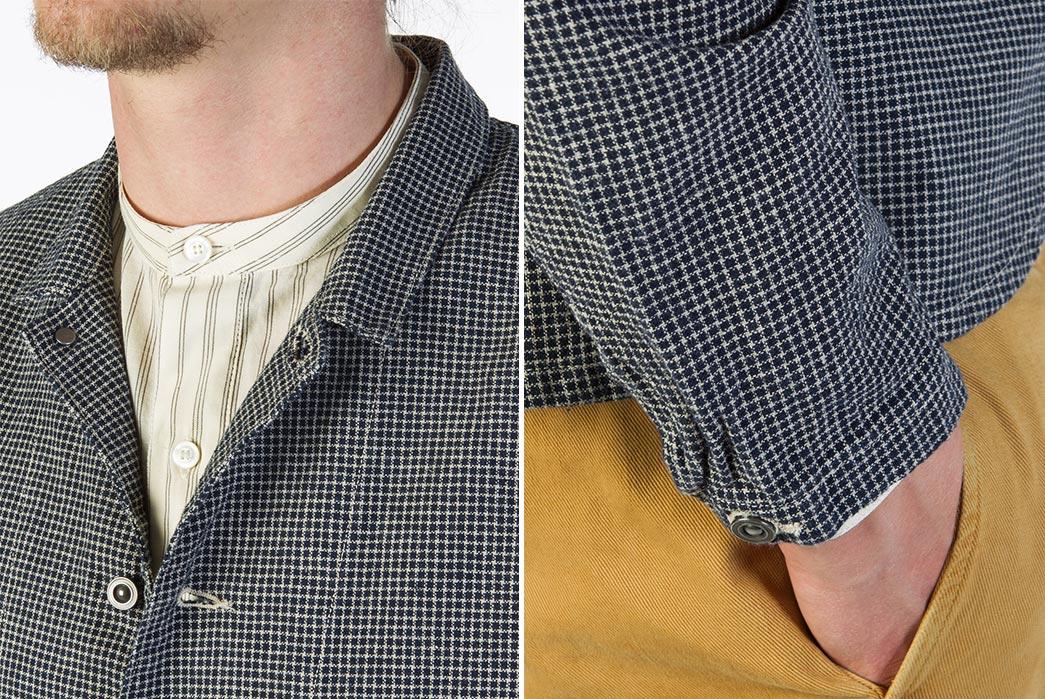 Levi's-Vintage-Clothing-Lot-3356-Indigo-Check-Sack-Coat-model-collar-and-sleeve