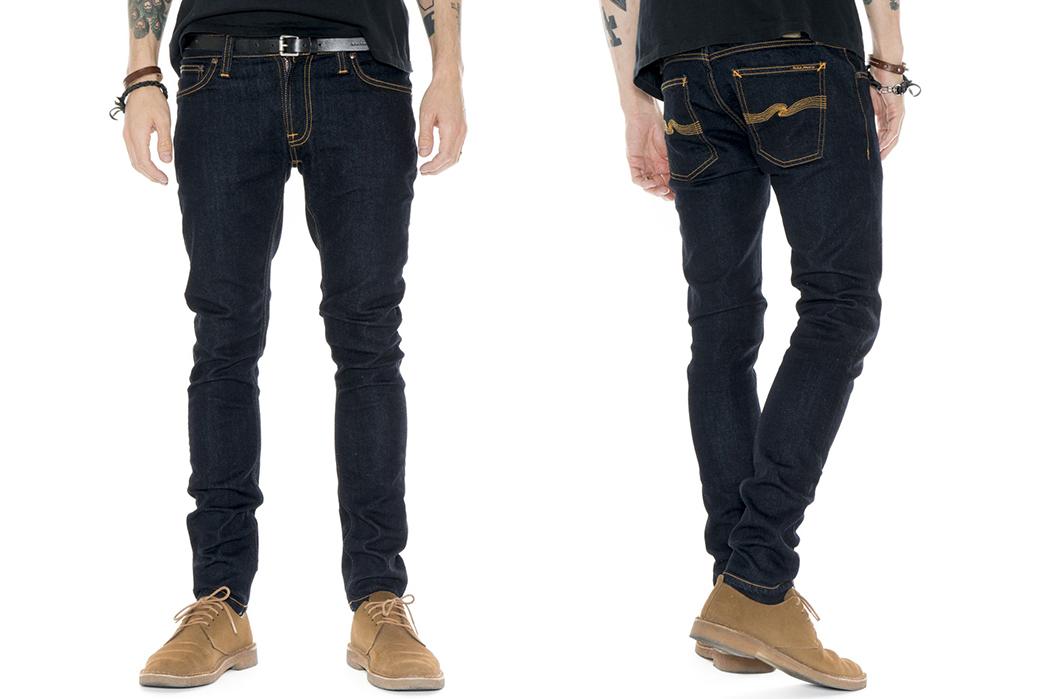 Nudie-Jeans-Skinny-Lin-Deep-Orange-Raw-Denim-Jeans-model-front-back